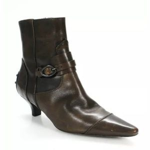 Tods ankle boots suede leather booties kitten heel